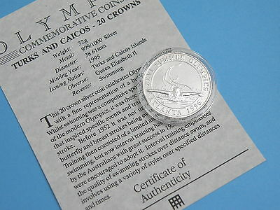Turks & Caicos - 1995 Silver Proof 20 Crowns Coin - Olympic Games - Swimming