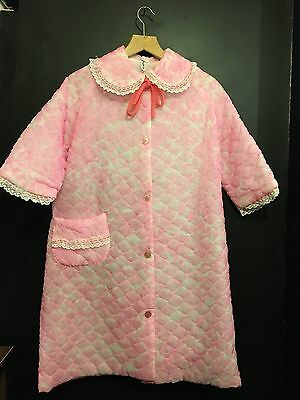 Vintage 1960s Pink Nylon Quilted Dressing Gown House Coat Mod 12 14 Slenderella