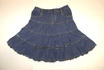 The Children's Place Girls 6X/7 Tiered Country Western Blue Jean Denim Skirt