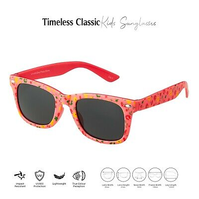 Pink Floral Kids Childrens Sunglasses UV400 Classic Shades Fashion Glasses Retro