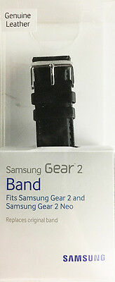 New! Samsung Smartwatch Replacement Band for Gear 2 - Black Leather