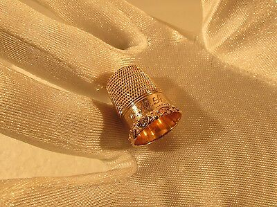 Victorian Thimble 14k Gold Size 9 Monogramed  Village Coin Bullion 9/16/5 Both