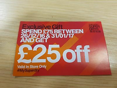 Superdry Voucher spend £25 off when spend £75 IN STORE ONLY