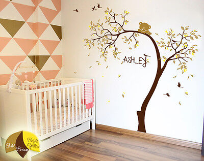 Leaning Tree wall Decal with Bear stickers Nursery wall mural Bear decor- KR064
