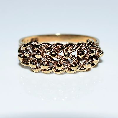 Antique style Keeper 9ct yellow gold ring size P ~ 7 3/4
