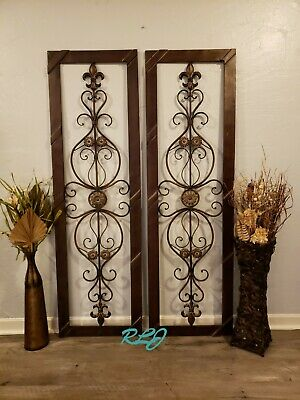 Antique Vintage French Victorian Brown Metal Scroll Wall Art Panel Plaque Decor