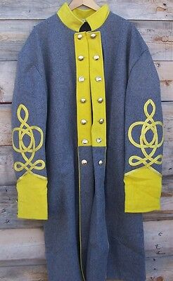 civil war confederate cavalry frock coat with 4 row braids 50