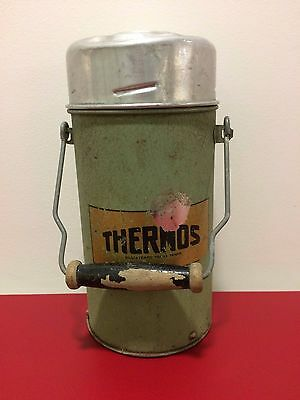 Vintage Green Thermos Flask, wooden handle & cork