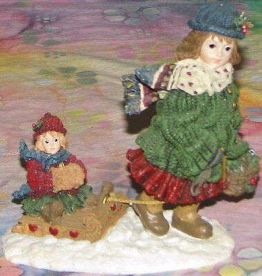 Boyds Dollstone COURTNEY W/PHOEBE...OVER THE RIVER AND THROUGH THE WOODS