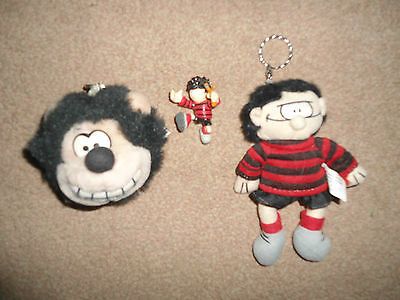 Dennis The Menace & Gnasher Keyrings And Figure Bundle - Collectable