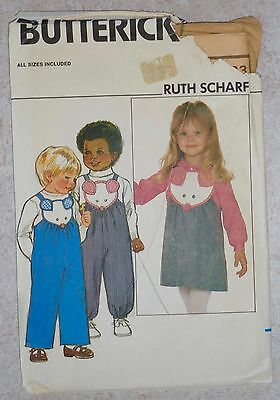Vintage Butterick Pattern #4632 *ruth Scharf* Jumper/overalls/blouse Child 1-4T