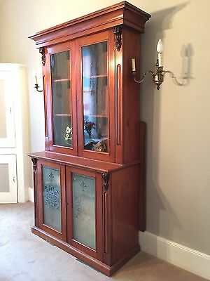 8ft Tall Antique Glazed Bookcase - Spectacular