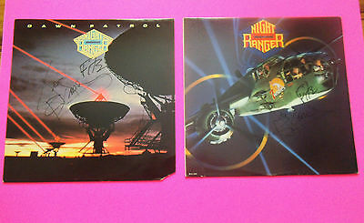 Two AUTOGRAPHED Night Ranger Album LP Records Signed Dawn Patrol 7 Wishes