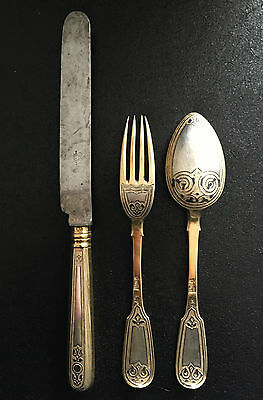 Antique rare christening set russian silver 1880 Moscow gilded niello