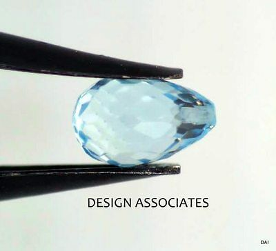 Aquamarine 7X5 Drop Cut Top Drilled Outstanding Blue Color All Natural