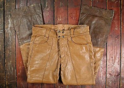 VTG 70s HARLEY DAVIDSON AMF LEATHER FLARED MOTORCYCLE PANTS TROUSERS USA W36 L33