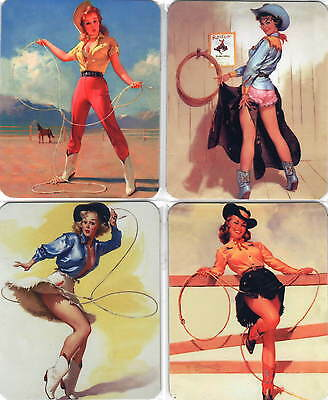 4 Stück Sexy Pinup Wildwest Cow Girl Set Fridge Magnet Kühlschrankmagnete No 14