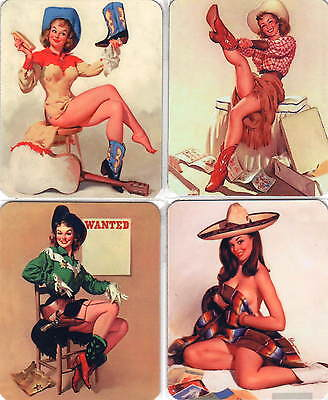 4 Stück Sexy Pinup Wildwest Cow Girl Set Fridge Magnet Kühlschrankmagnete No 15