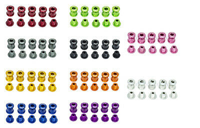 A2Z Coloured Lightweight Chainring Bolts For Road / MTB Cranks - Alloy Full Set