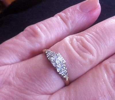 Vintage 14k Yellow & White Gold Dainty Diamond Engagement Ring Size 5