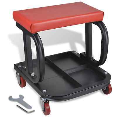 Creeper Seat Garage Rolling Workshop Mechanic Stool Chair Heavy Duty Tool Tray