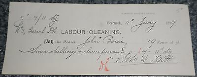 Scotland, Harbour Masters Office Bearer cheque dated 1899 for Labour Cleaning