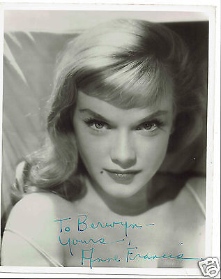 Anne Francis American Actress Hand Signed Vintage Photograph 10 x 8
