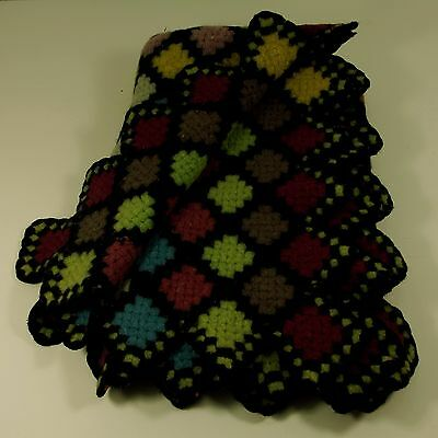 "Crochet Granny Square Afghan made from wool black  42"" x 52"""