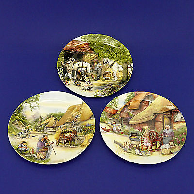 Three Royal Doulton 'Old Country Crafts' Ltd Edn Plates (1990) by Susan Neale
