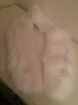 white faux fur shawl
