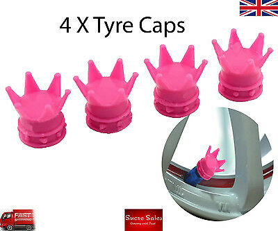 Pink Crown Alloy Car Wheel Tire Tyre Valve Dust Caps Covers Tire Set of 4 UK