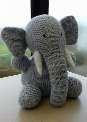 Hand Knitted Cuddly Elephant Soft Toy