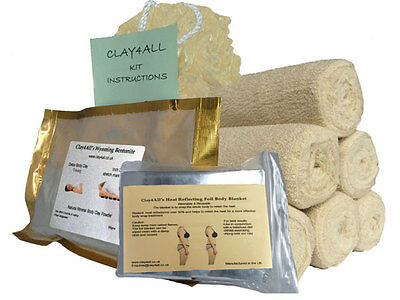 body clay powder 300gms and 6 Body Wrap bandages kit-inch loss/toning unisex