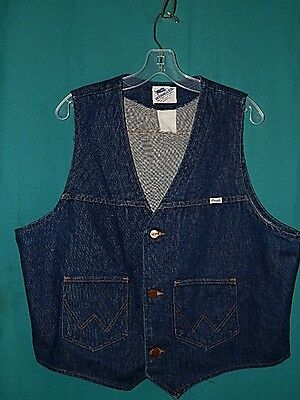 VINTAGE MEN'S WRANGLER DENIM VEST, SANFORIZED, USA, Size L-XL