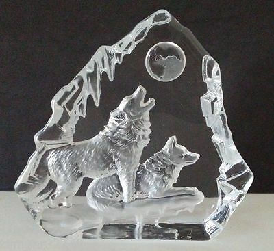 Etched Glass Wolf / Wolves statue