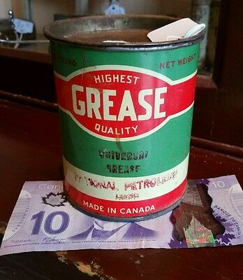 Vintage Motor Oil Can National Petroleum Grease Tin Made In Canada One Pound