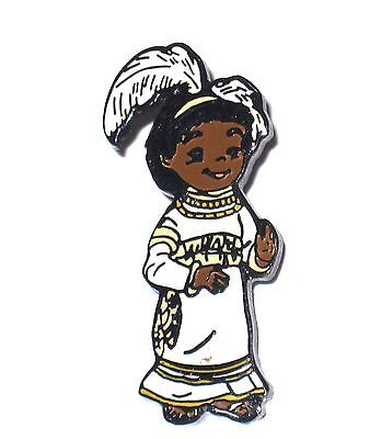 Retired Disney Pin✿It's Small World Girl White Feather Headdress Native African