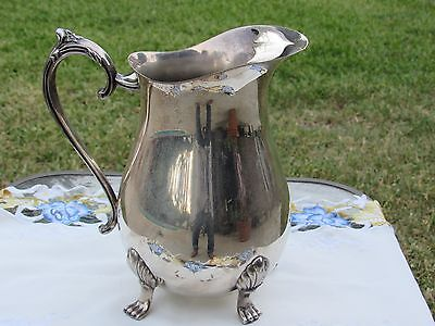 Vintage Leonard Silver Plated Footed Water Pitcher with Handle & Ice Guard
