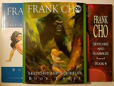 Frank Cho Sketches and Scribbles Sketchbook Volumes 2, 3, 4, Signed and Numbered
