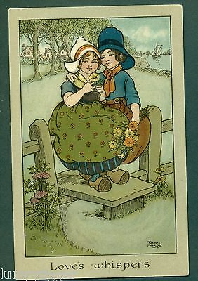 LOVES WHISPERS BY FLORENCE HARDY, vintage postcard