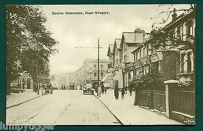 SOUTH NORWOOD,HIGH ST WITH SHOPS, vintage postcard