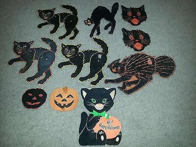 Vintage HAUNTED HOUSE Halloween Decorations LOT OF 10 Black Cats, Pumpkins