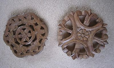Two Vintage Carved Wooden Finials/roundels - Each Different Design