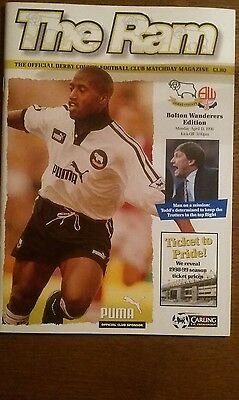 Derby County v Bolton Wanderers Programme 13th April 1998
