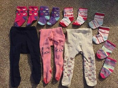 Baby Girl Tights And Socks 8 Pairs Bundle - 0-3 Months