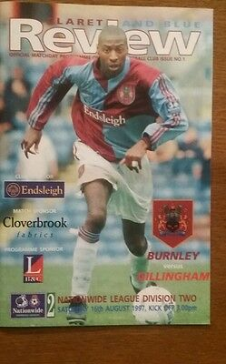 Burnley v Gillingham Programme & Nationwide Review 16th August 1997