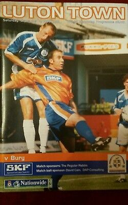 Luton Town v Bury Programme 4th September 1999