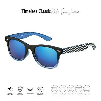 New Childrens Kids Blue Striped Classic Style Sunglasses UV400 Classic Shades