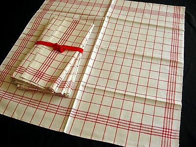 8x old unused red checkered linen kitchen Towels or rustic napkins