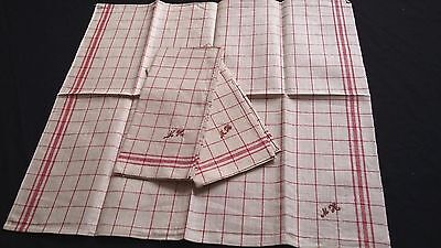 3x old unused red checkered linen kitchen Towels